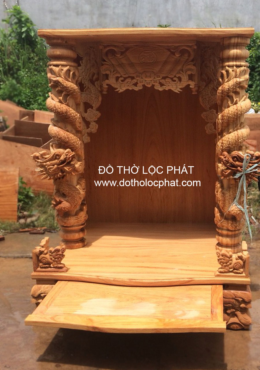 chuyên sản xuất bàn thờ ông địa thần tài theo yêu cầu- Mẫu bàn thờ ông địa cột rồng nổi đẹp nhất