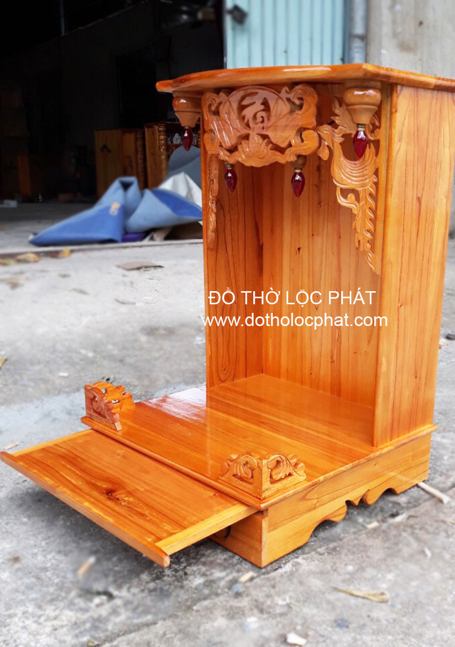 Bàn Thờ Ông Địa - Thần Tài Không Cột Xoan Đào Giá Rẻ - đẹp nhất BTXD-028