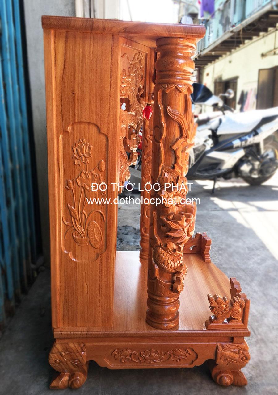 chi tiết mẫu bàn thờ ông địa thần tài cột rồng trụ ngang 81 đẹp nhất