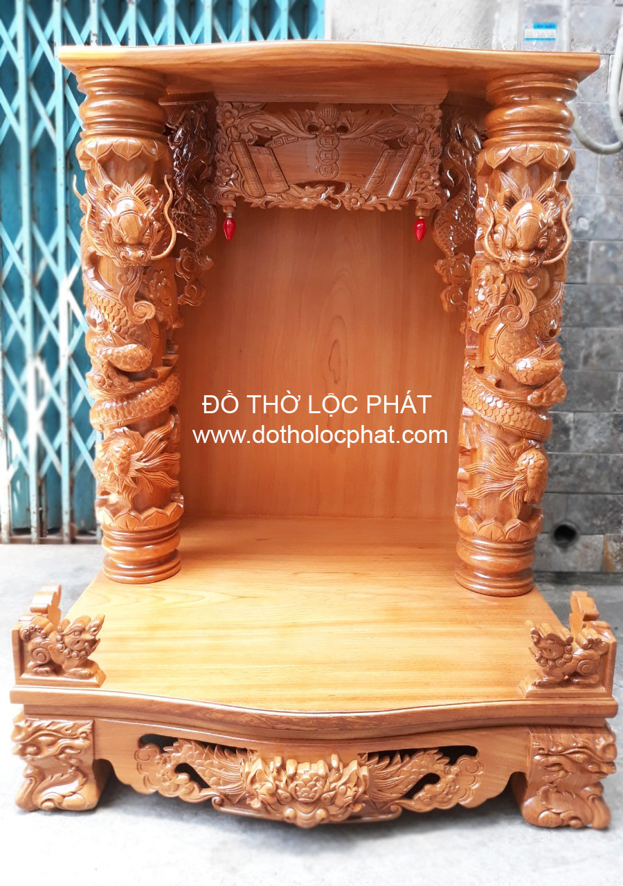 mẫu bàn thờ thần tài đẹp nhất hcm thiết kế rồng cuốn nổi