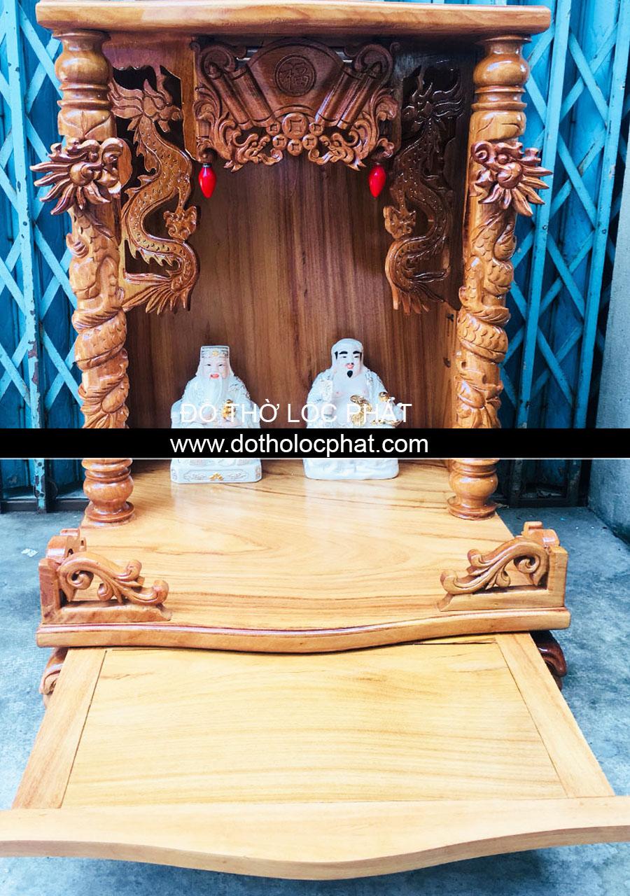 mẫu bàn thờ ông địa thần tài đẹp chạm tai rồng nổi - full ngăn kéo - giá tốt nhất tại TP.HCM