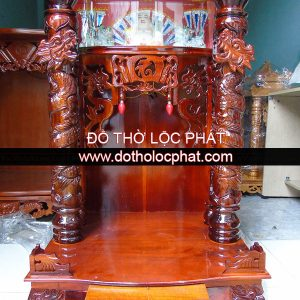 mẫu bàn thờ ông địa thần tài gỗ tràm có hộp đèn và đèn led - hộp đựng tượng phật di lặc