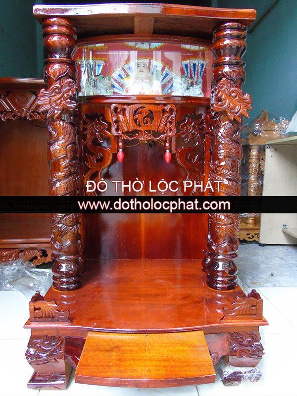 Mẫu bàn thờ ông địa thần tài đẹp có hộp đèn bằng gỗ tràm BTGT-014