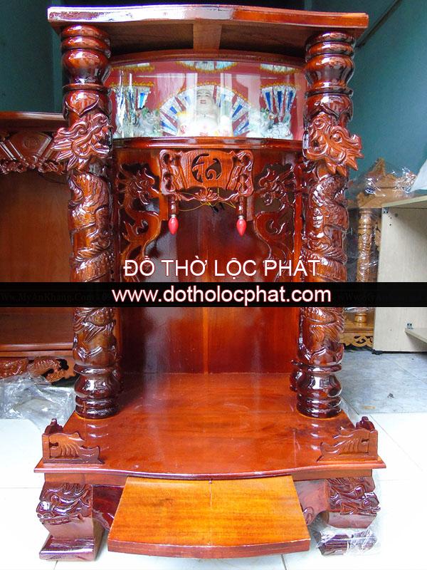 bàn thờ ông địa thần tài đẹp có hộp đèn bằng gỗ tràm - có ngăn kéo phụ
