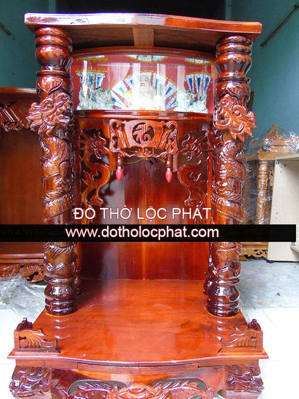 mẫu bàn thờ ông địa thần tài bằng gỗ tràm đẹp - có hộp đèn trưng tượng phật di lặc