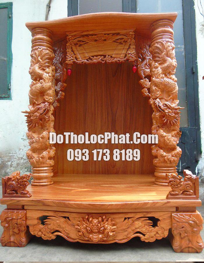 bàn thờ ông địa thần tài đẹp bằng gỗ gõ cột khủng