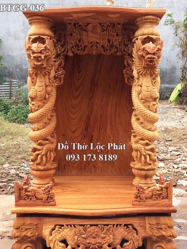 mẫu bàn thờ thần tài ông địa đẹp ngang 81 cột 16 rồng phách uốn lượn