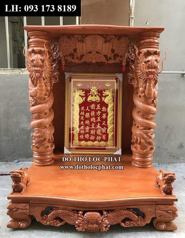 Mẫu bàn thờ thần tài ông địa được khách đặt làm - cột rồng phách ngậm ngọc