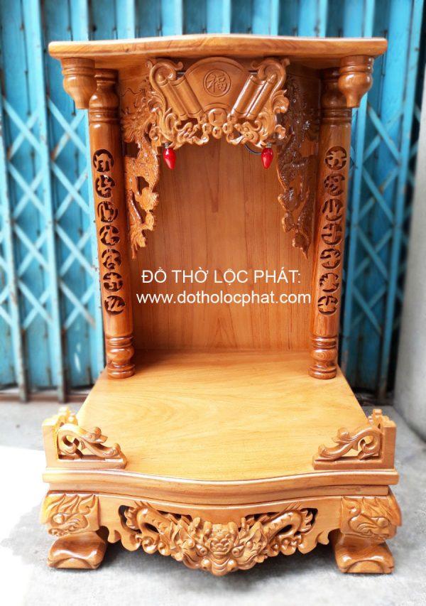 mẫu bàn thờ thần tài thổ địa đẹp - cột phụ gõ đỏ