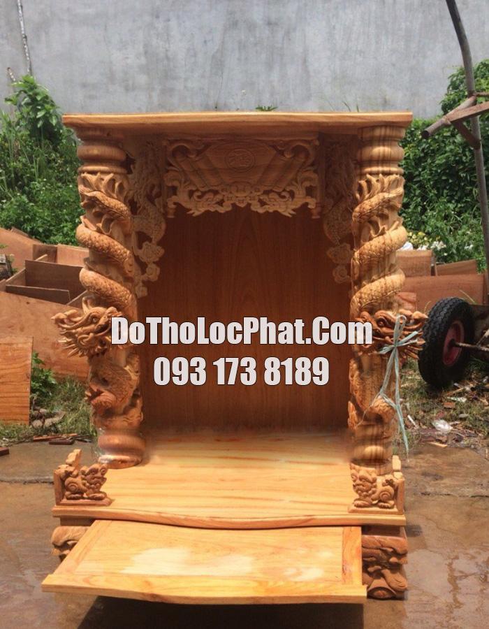 bàn thờ thần tài đẹp cột rồng cuộn lớn