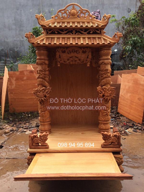 bàn thờ ông địa thần tài mái chùa ngang 60 cực đẹp - đang được phơi mộc
