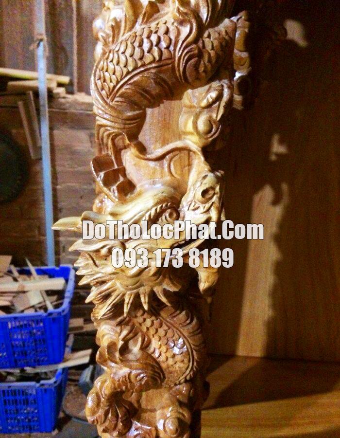 cột bàn thờ ông địa thần tài đẹp 81 x 81 x 127 có hộp đèn điện tử