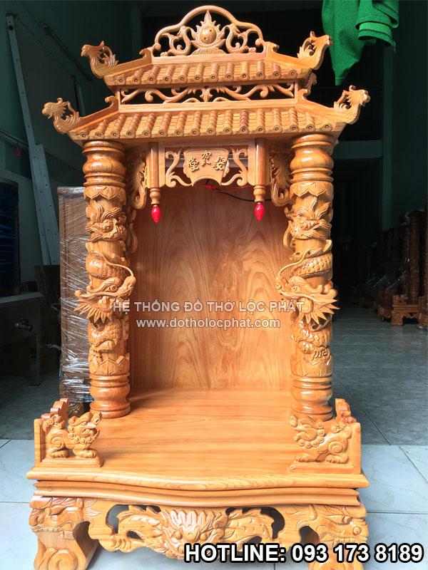 bàn thờ ông địa thần tài mái chùa ngang 60 cực đẹp - chất gỗ gõ đỏ cao cấp