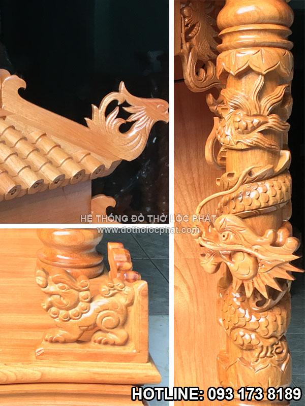 hình ảnh rõ nét các chi tiết trên bàn thờ thần tài mái chùa- bàn thờ ông địa mái ngói đẹp chuẩn kích thước ngang 60 x 60 x 118 cm