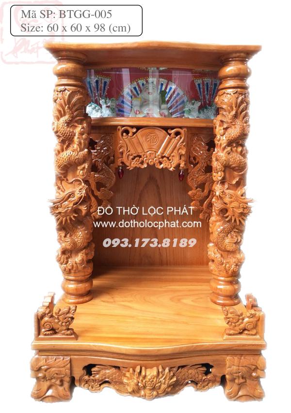 Bàn thờ thần tài ông địa đẹp - Cột rồng - Có hộp đèn