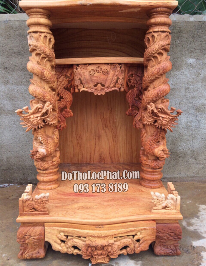 Bàn thờ thần tài ông địa hộp đèn rồng cuộn gỗ siêu già