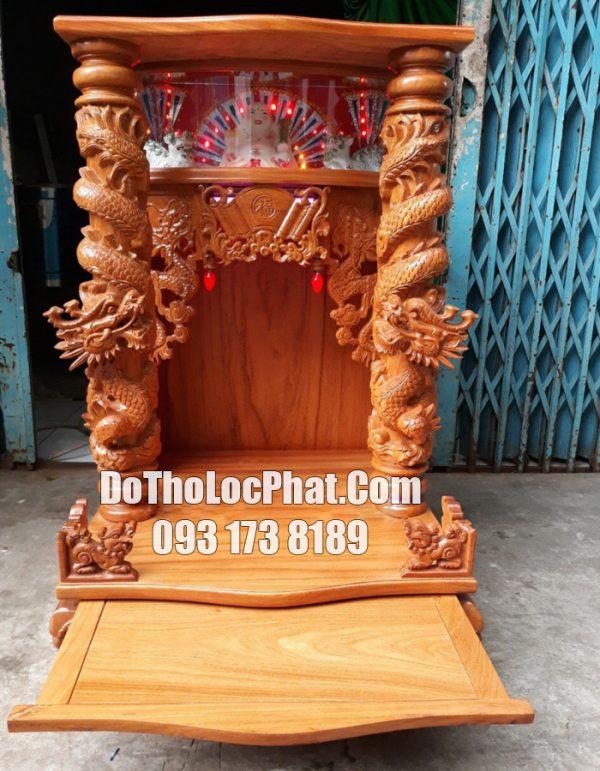 giao khách lên mộc bàn thờ thần tài ông địa rồng cuộn có hộp đèn tại TP.HCM