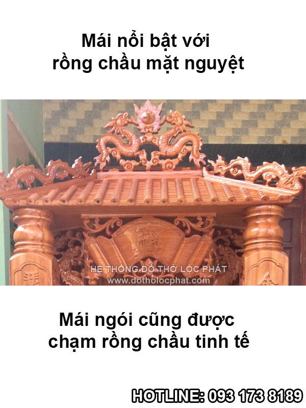 mái ngói bàn thờ ông địa thần tài mái chùa cột khắc chữ siêu đẹp
