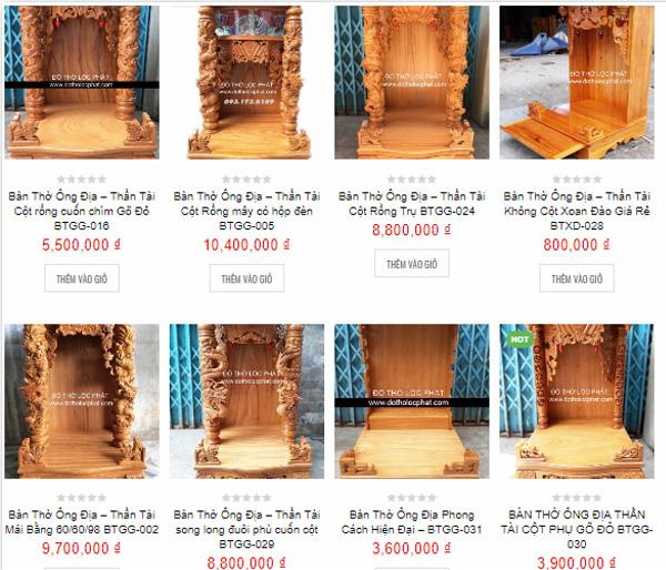 giá các mẫu bàn thờ thần tài mới nhất hiện nay