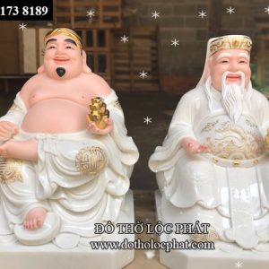 thỉnh ngay tượng thần tài ông địa bằng đá thạch anh màu trắng viền vàng tại TP.HCM
