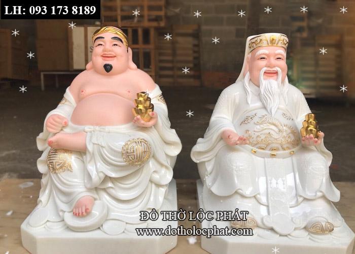 tượng thần tài ông địa bằng đá thạch anh màu trắng viền vàng, đế vuông 10inch cho bàn 65cm