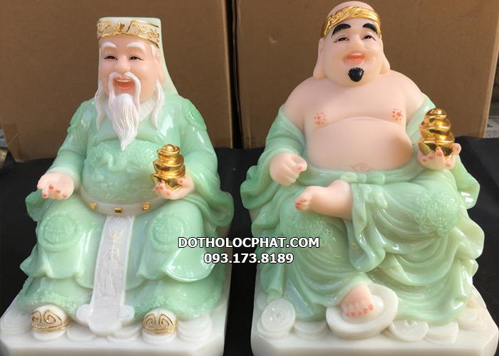 tượng ông địa thần tài màu xanh ngọc cho bàn 48cm