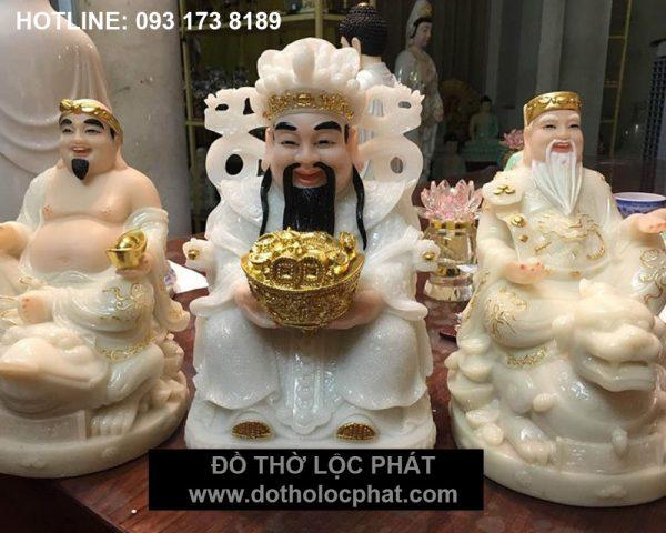 bộ 3 ông tượng thần tài thổ địa thần tiền bằng đá thạch anh trắng đẹp nhất – giá tốt nhất