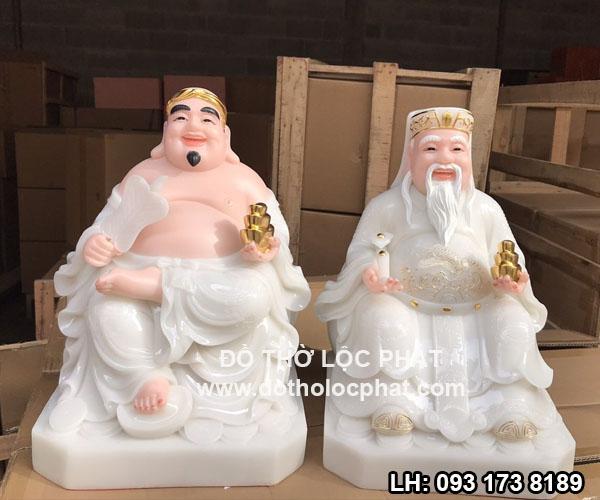 tượng ông địa thần tài bằng bột đá trắng -tượng tài địa áo trắng -tượng thần tài áo gấm