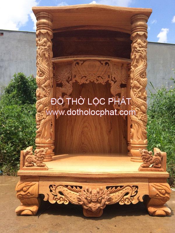 mẫu bàn thờ thần tài ông địa mái bằng có hộp đèn đẹp - chuyên sx bàn thờ thần tài TP.HCM