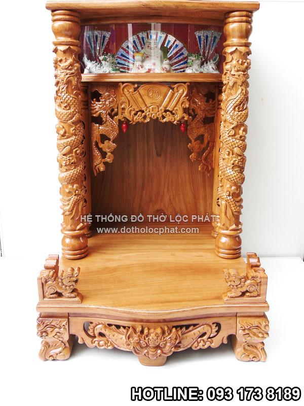 mẫu bàn thờ ông địa thần tài đẹp nhất có hộp đèn - mái bằng - cột rồng nổi