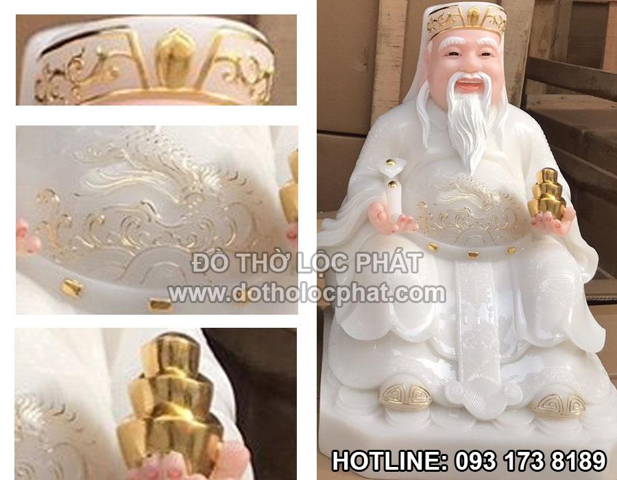 hình ảnh chi tiết tượng thần tài bằng đá trắng viền vàng đế vuông