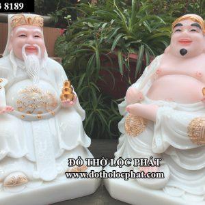 bộ tượng ông địa thần tài bằng đá trắng da hồng viền vàng đẹp