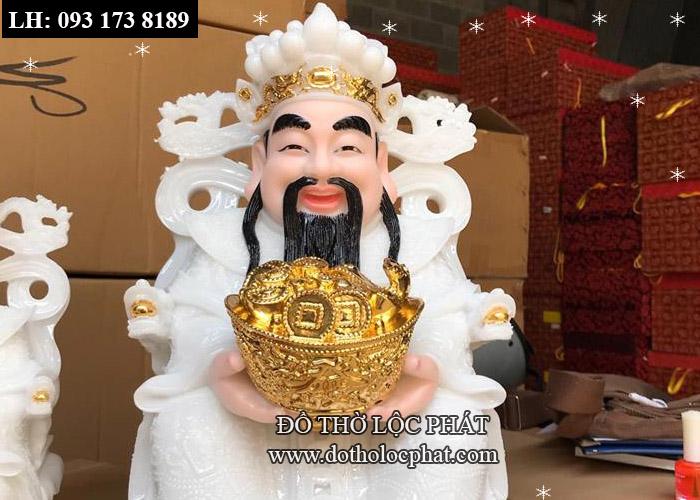 tượng thần tiền đẹp màu trắng bằng đá thạch anh - viền vàng 998 - kích thước 30cm - ngang 20cm