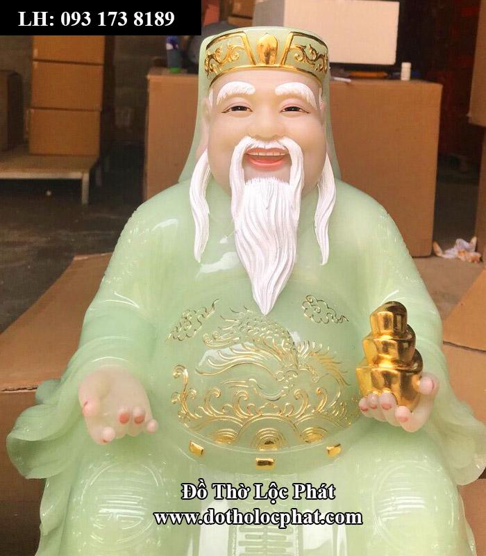 tượng thần tài bằng đá đẹp nhất HCM - màu xanh ngọc đế vuông