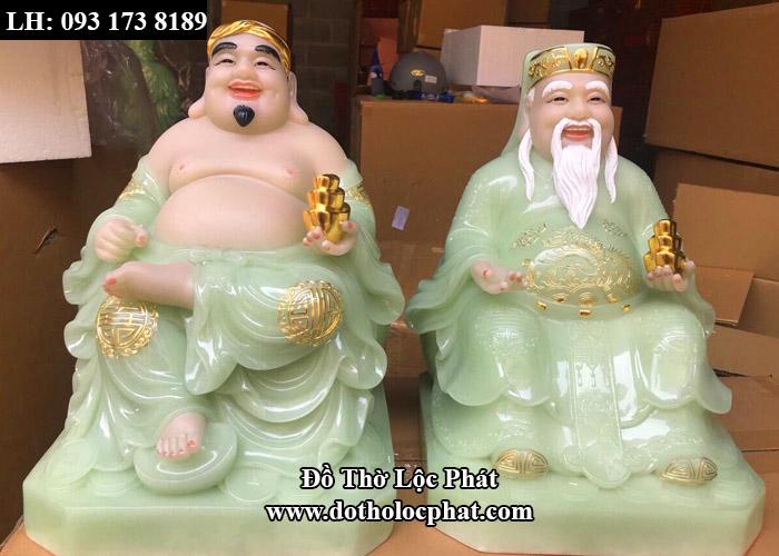 bộ tượng ông địa thần tài bằng bột đá thạch anh đẹp - màu xanh ngọc