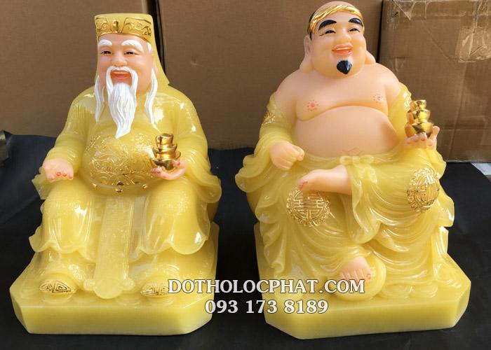 Bộ tượng thần tài ông địa bằng đá thạch anh áo vàng