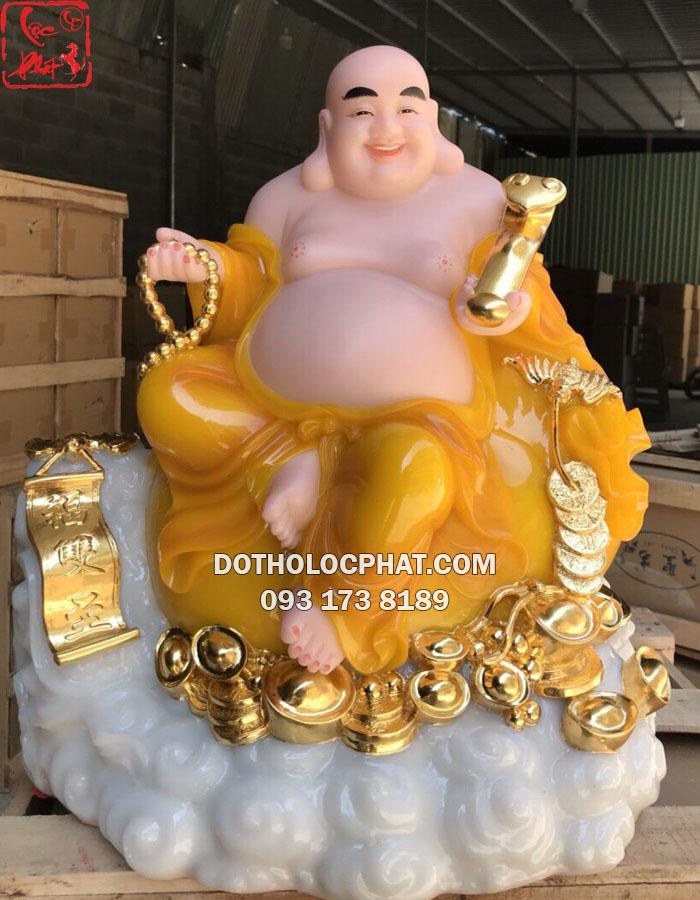 tượng phật di lặc bằng bột đá vàng hổ phách cầm gậy như ý
