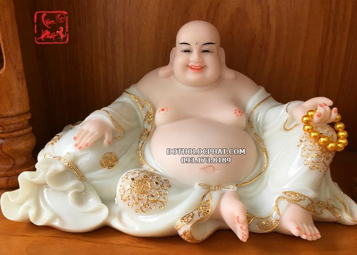 mẫu tượng phật di lặc trắng viền vàng đẹp nhất hcm