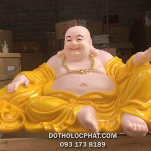 tượng phật di lặc đẹp bằng bột đá vàng hổ phách cực lớn 90cm