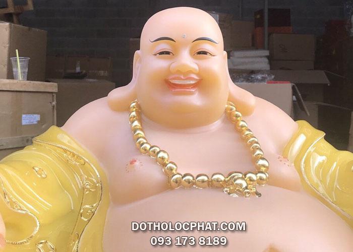 tượng phật di lặc bằng bột đá thạch anh vàng dát viền vàng 3d đẹp nhất