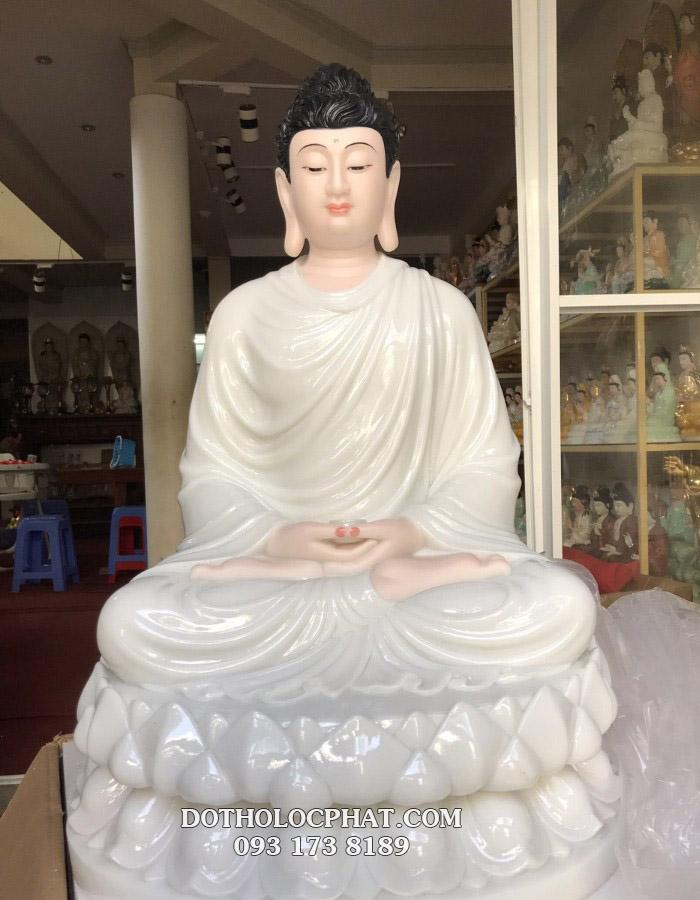 tượng thích ca mâu ni bằng đá màu trắng ngọc kích thước lớn