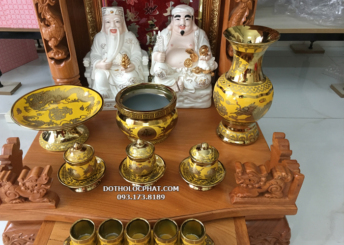 bộ đồ thờ cúng bằng sứ vân vàng 3d