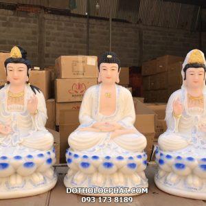 bộ tượng tây phương tam thánh đẹp bằng bột đá trắng viền xanh
