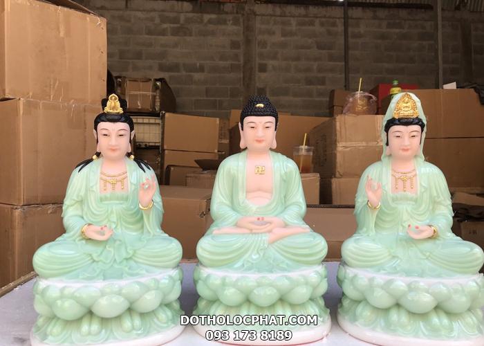 bộ tượng tây phương tam thánh bằng bột đá xanh ngọc đẹp tại hcm