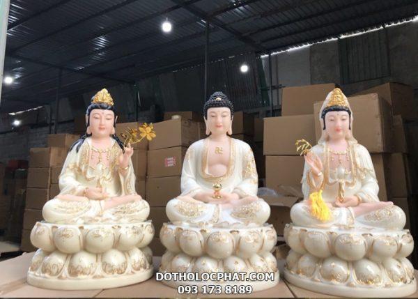 bộ tượng tây phương tam thánh đẹp màu trắng viền vàng tại hcm