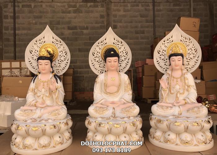 Bộ tượng tây phương tam thánh bằng đá đẹp tại hcm
