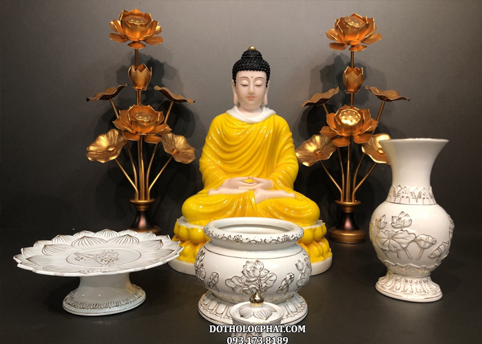 tượng phật thích ca mâu ni màu vàng hổ phách đẹp