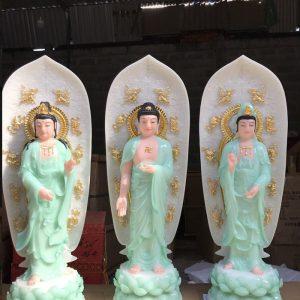 tượng tây phương tam thánh màu xanh ngọc siêu đẹp