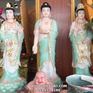 tượng tây phương tam thánh xanh trắng viền vàng nổi đẹp