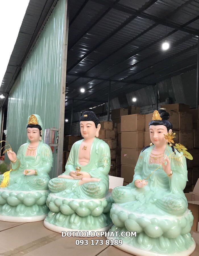 bộ tượng tây phương tam thánh bằng đá xanh ngọc vẽ hoan 3D đẹp